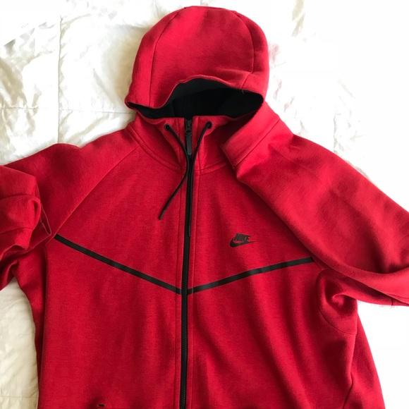 Nike Shirts Nike Red Tech Fleece Jacket Poshmark